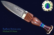 Damascus Rosewood Scottish Sgian Dubh Knife
