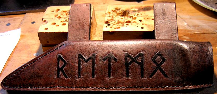 Hand tooled leather Seax sheath with Viking Runes