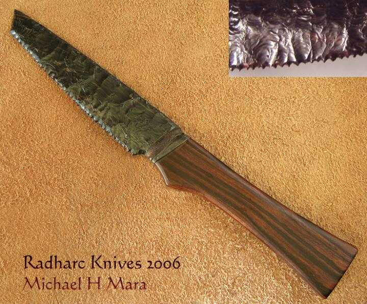 Obsidian Kitchen Knives   Custom Handmade Knives Primitive Serrated Tanto Knife